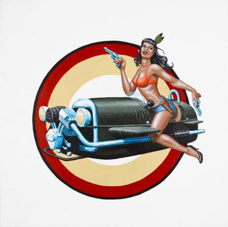 Original for nose art Morgan 3 wheeler. Double Trouble 2 - Christian Beijer Arts