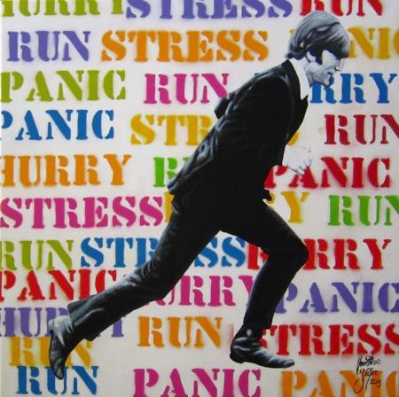 Hurry Run Stress Panic - Christian Beijer Arts